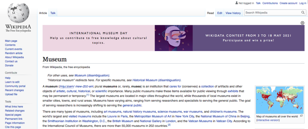 Screeshot of the Museum Wiki page